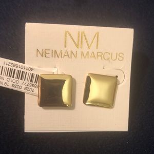 Kenneth Jay Lane gold square earrings